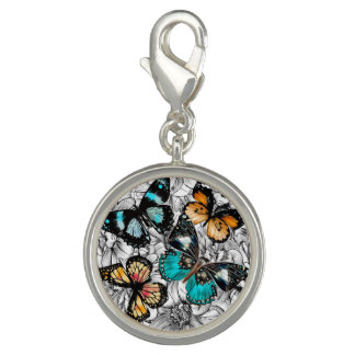 Floral Butterflies colorful sketch pattern Charms