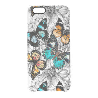 Floral Butterflies colorful sketch pattern Clear iPhone 6/6S Case