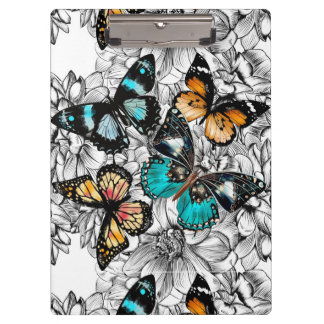 Floral Butterflies colorful sketch pattern Clipboard
