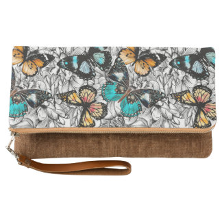 Floral Butterflies colorful sketch pattern Clutch