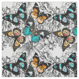Floral Butterflies colorful sketch pattern Fabric