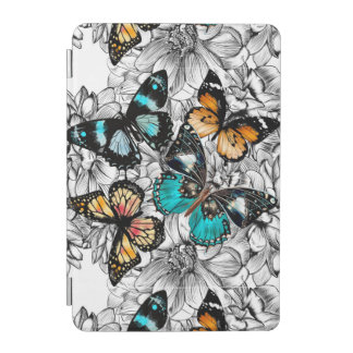 Floral Butterflies colorful sketch pattern iPad Mini Cover