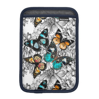 Floral Butterflies colorful sketch pattern iPad Mini Sleeve