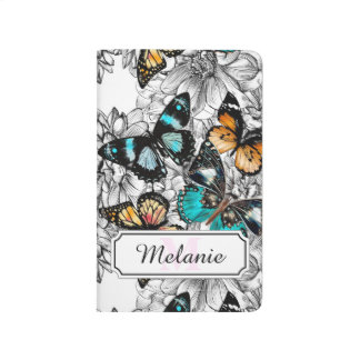 Floral Butterflies colorful sketch pattern Journal