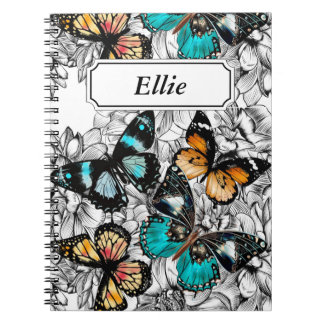 Floral Butterflies colorful sketch pattern Notebook