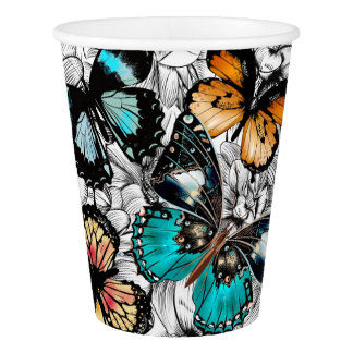 Floral Butterflies colorful sketch pattern Paper Cup
