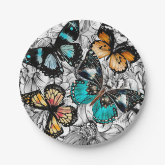 Floral Butterflies colorful sketch pattern Paper Plate