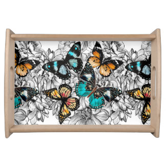 Floral Butterflies colorful sketch pattern Serving Tray