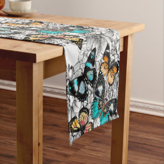 Floral Butterflies colorful sketch pattern Short Table Runner