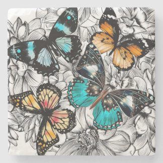 Floral Butterflies colorful sketch pattern Stone Coaster