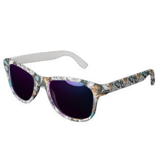 Floral Butterflies colorful sketch pattern Sunglasses