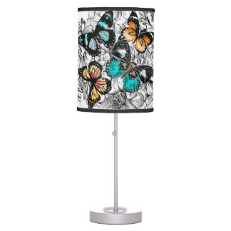 Floral Butterflies colorful sketch pattern Table Lamp