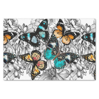 Floral Butterflies colorful sketch pattern Tissue Paper