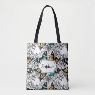 Floral Butterflies colorful sketch pattern Tote Bag