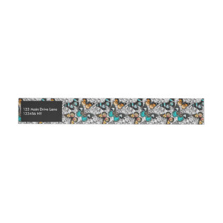 Floral Butterflies colorful sketch pattern Wraparound Address Label
