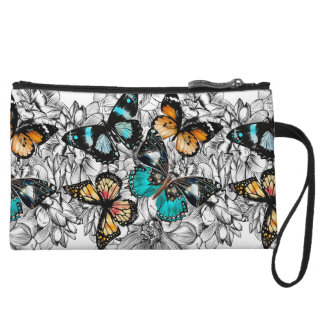 Floral Butterflies colorful sketch pattern Wristlet