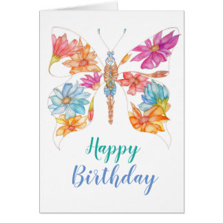 Floral butterfly birthday greeting card