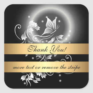 Floral Butterfly Black And White Thank You Square Sticker