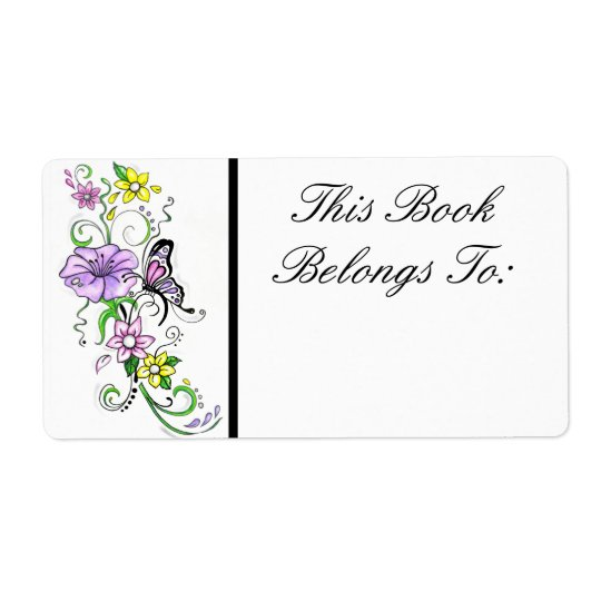 Floral Butterfly Book Label