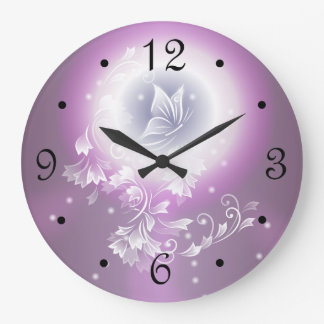 Floral Butterfly Fantasy Purple Large Clock