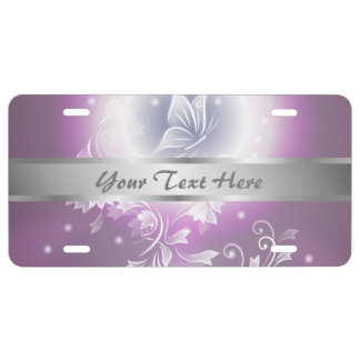 Floral Butterfly Fantasy Purple License Plate