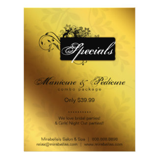 Floral Butterfly Flyer Salon Spa Gold Black