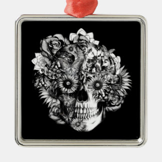 Floral Butterfly Ohm skull illustration in black Metal Ornament