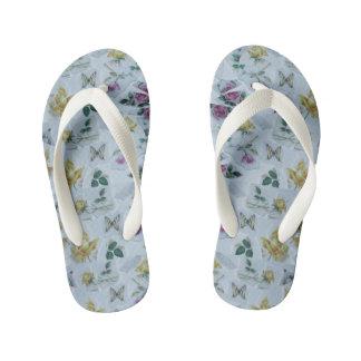 floral butterfly pattern kid's flip flops