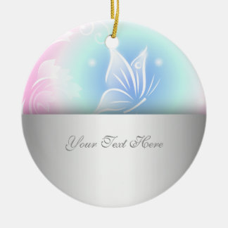 Floral Butterfly Pink Personalize Round Ceramic Ornament