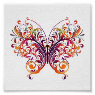 Floral Butterfly Poster