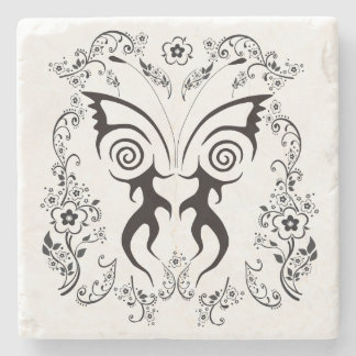 FLORAL BUTTERFLY TATTOO PRINT FOR  MARBLE COASTER