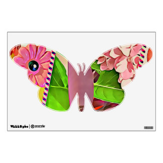 Floral butterfly wall decal with colorful collage