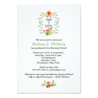 "Floral caduceus Nurse pinning graduation BSN RN 5"" X 7"" Invitation Card"