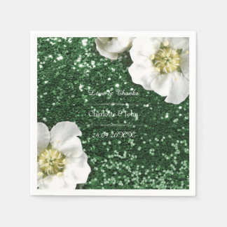 Floral Cali Green Jasmin Thank You Custom Glitter Paper Napkins