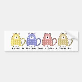 Floral Calico Kitty Rescue Bumper Sticker