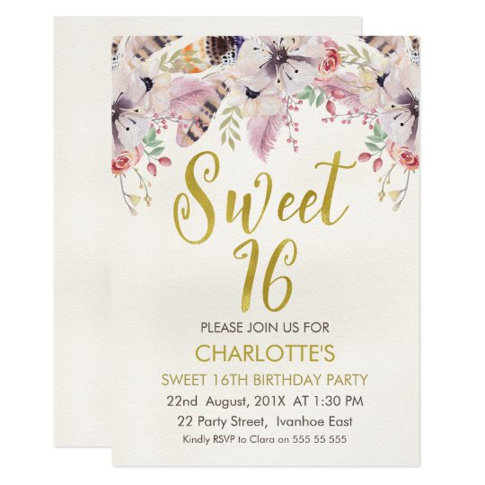 Floral Calligraphy Boho 16th Birthday Invitation
