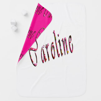 Floral Caroline Name Logo, Baby Blanket
