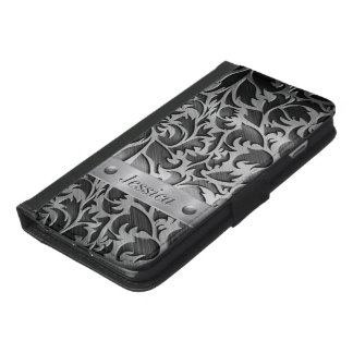 Floral Carving on Brushed Metal iPhone 6/6s Plus Wallet Case