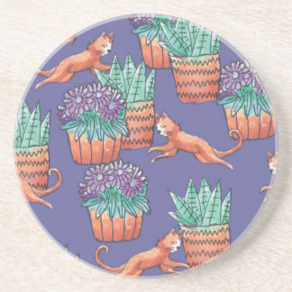 floral cats coaster
