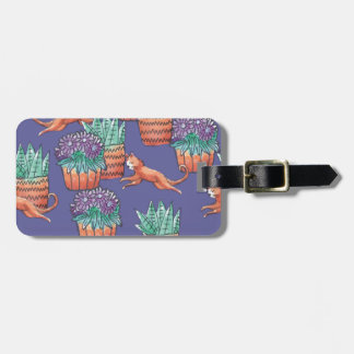 floral cats luggage tag