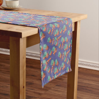 floral cats short table runner