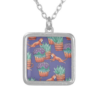 floral cats silver plated necklace
