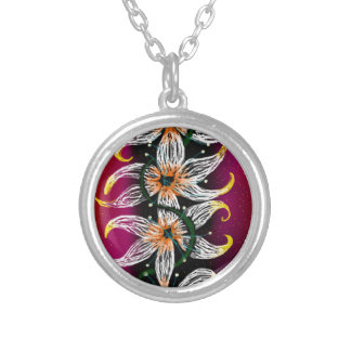 Floral chain silver plated necklace