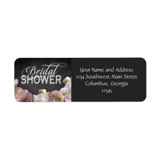 Floral & Chalkboard Bridal Shower Return Address Label