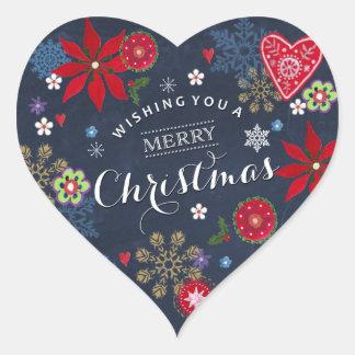 Floral Chalkboard Christmas | Heart Sticker