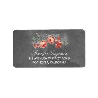 Floral Chalkboard Rustic Wedding Label