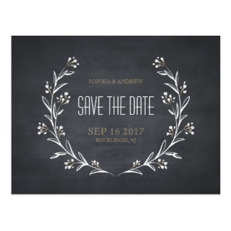 Floral chalkboard rustic wedding save the date postcard