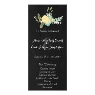 Floral & Chalkboard wedding program VII