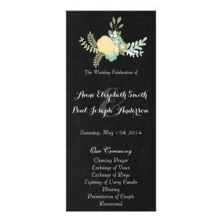 Floral & Chalkboard wedding program VII Rack Cards