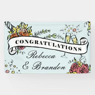 Floral Champagne Milestone Congratulations Banner